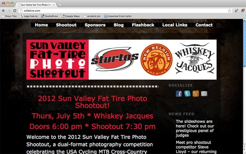 Website, event promotion, and online ticket sales for the 2012 Sun Valley Fat Tire Photo Shootout