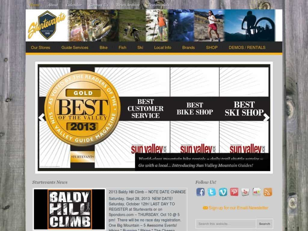 Sturtevants of Sun Valley website by wirebird media