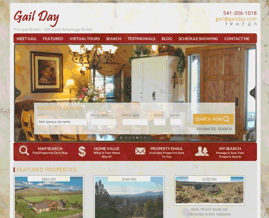 WordPress IDX website for Central Oregon real estate broker Gail Day