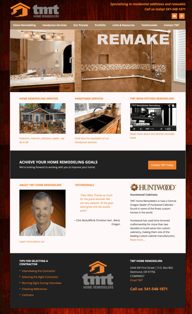 TMT Home Remodelers WordPress website design & development in Bend Oregon