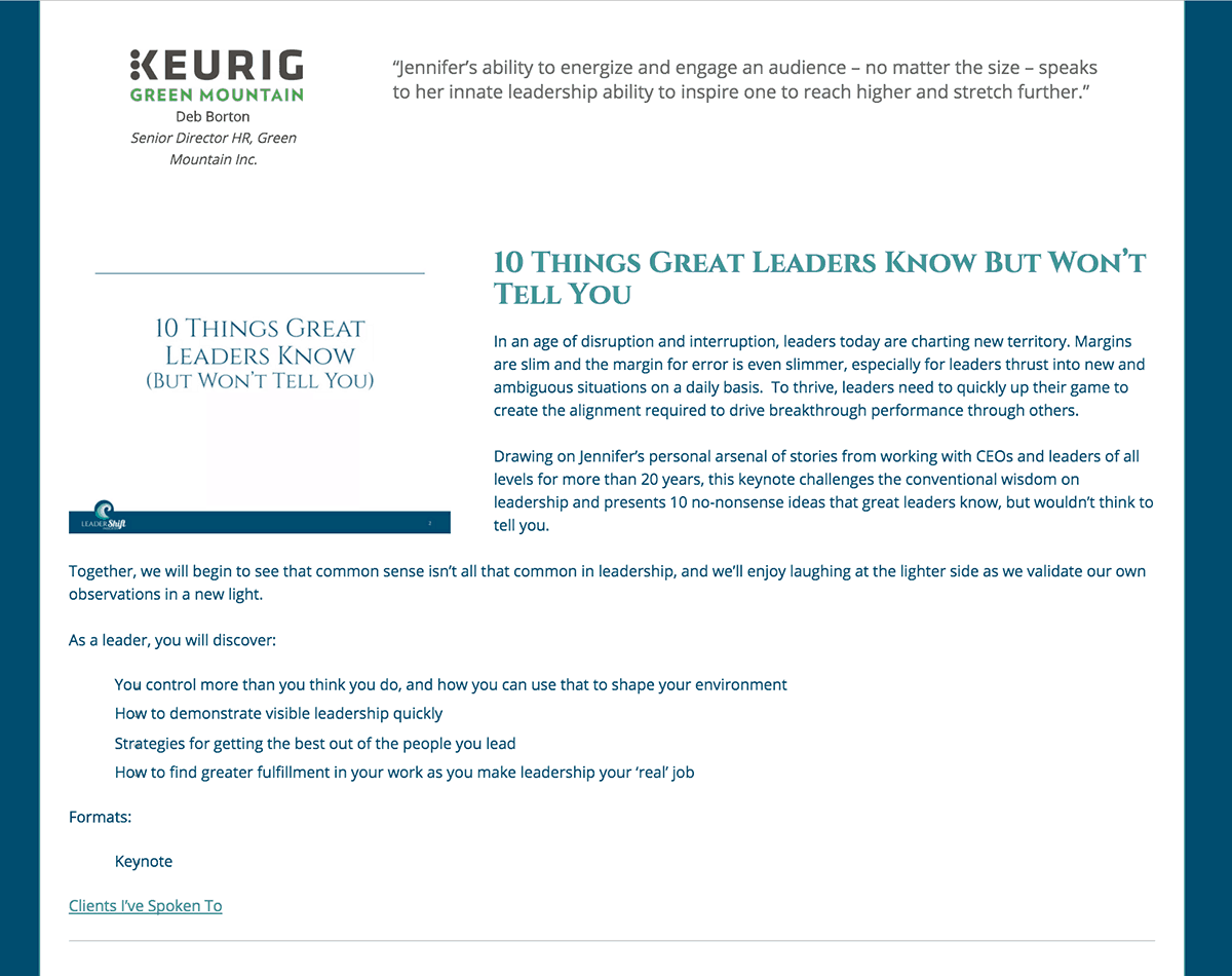 Authentic Insights blog website speaking page